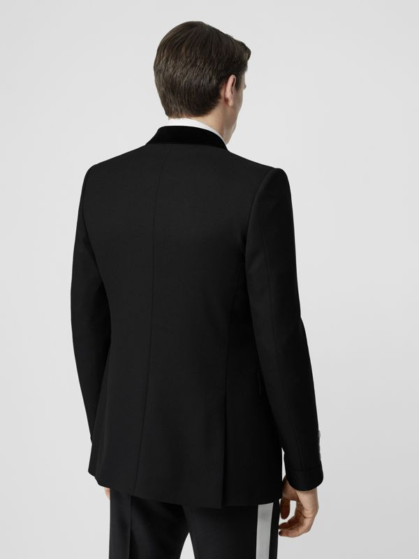 English Fit Velvet Collar Wool Tailored Jacket in Black - Men | Burberry - cell image 2