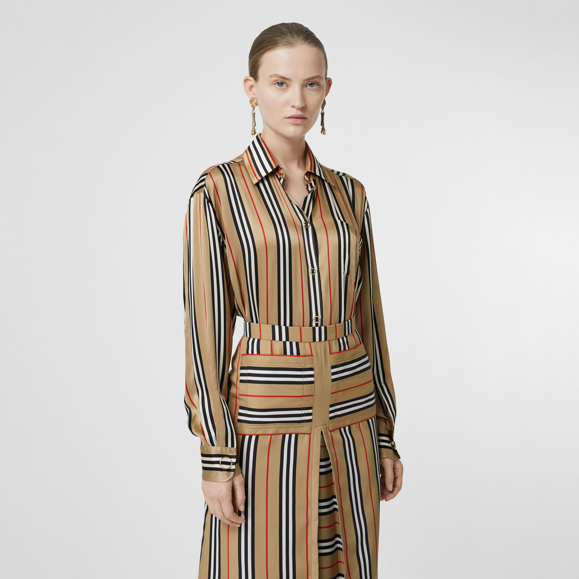 Icon Stripe Silk Shirt in Archive Beige - Women | Burberry - gallery image 0