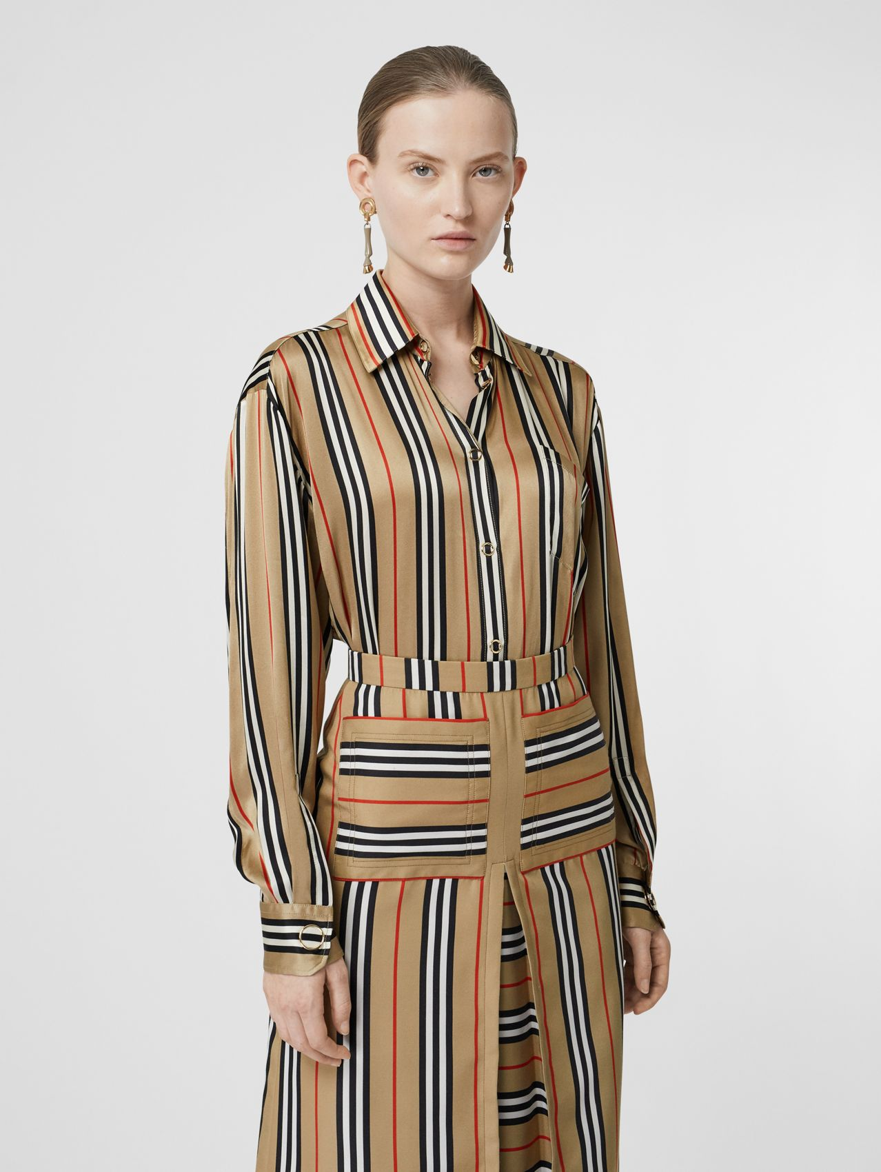 Icon Stripe Silk Shirt (Archive Beige)