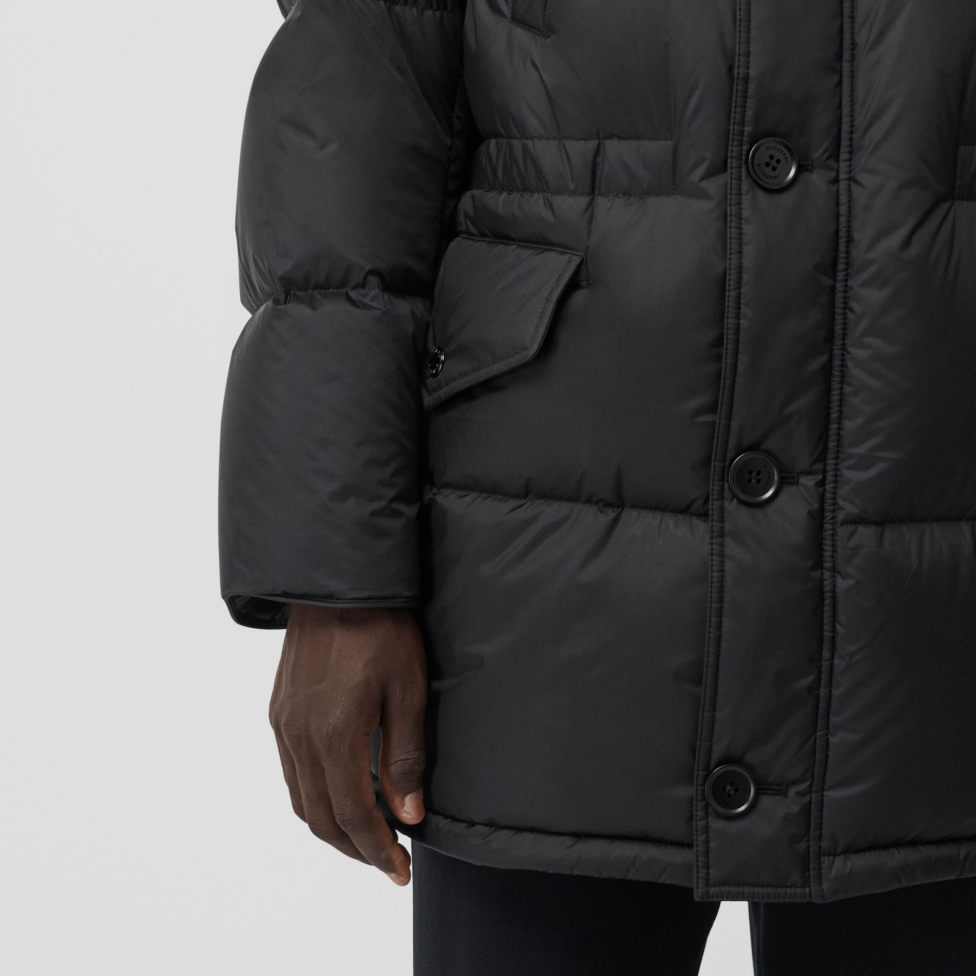 Logo Detail Hooded Puffer Coat in Black - Men | Burberry - gallery image 5