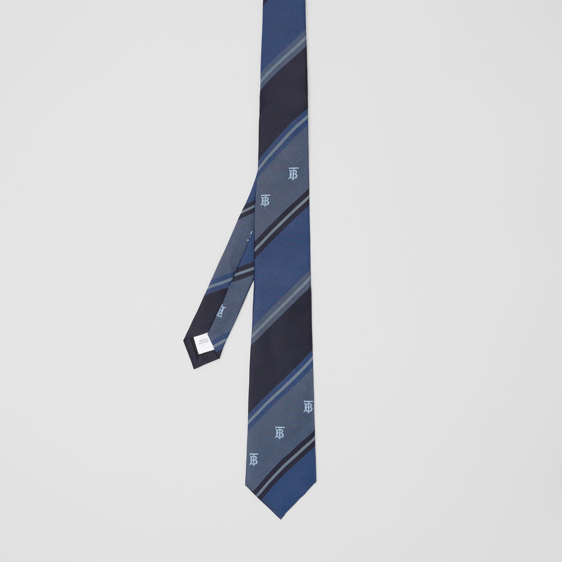 Classic Cut Monogram Motif Striped Silk Jacquard Tie in Bright Steel Blue - Men | Burberry - gallery image 4