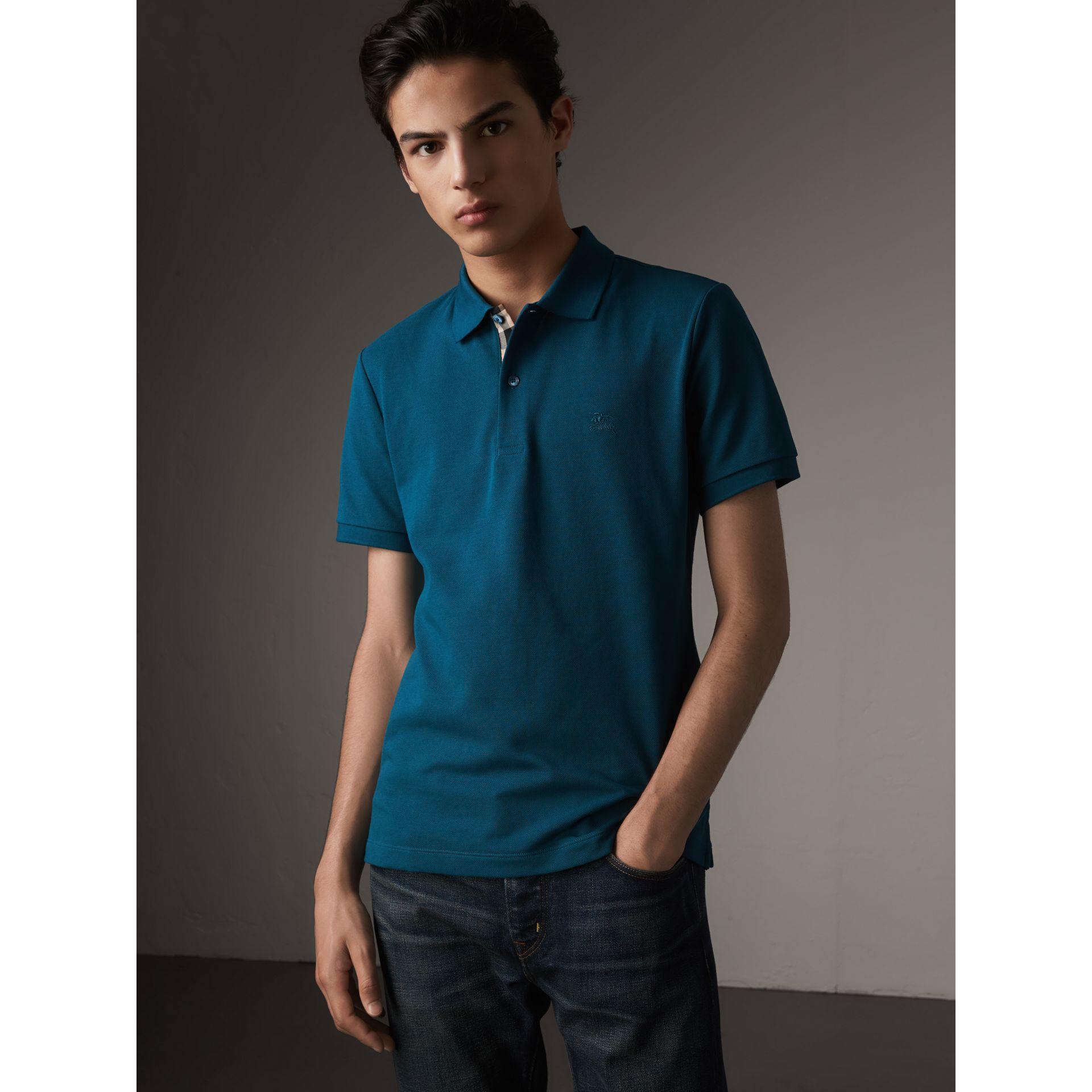 Check Placket Cotton Piqué Polo Shirt in Mineral Blue - Men | Burberry - gallery image 1