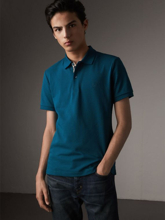 Check Placket Cotton Piqué Polo Shirt in Mineral Blue - Men | Burberry