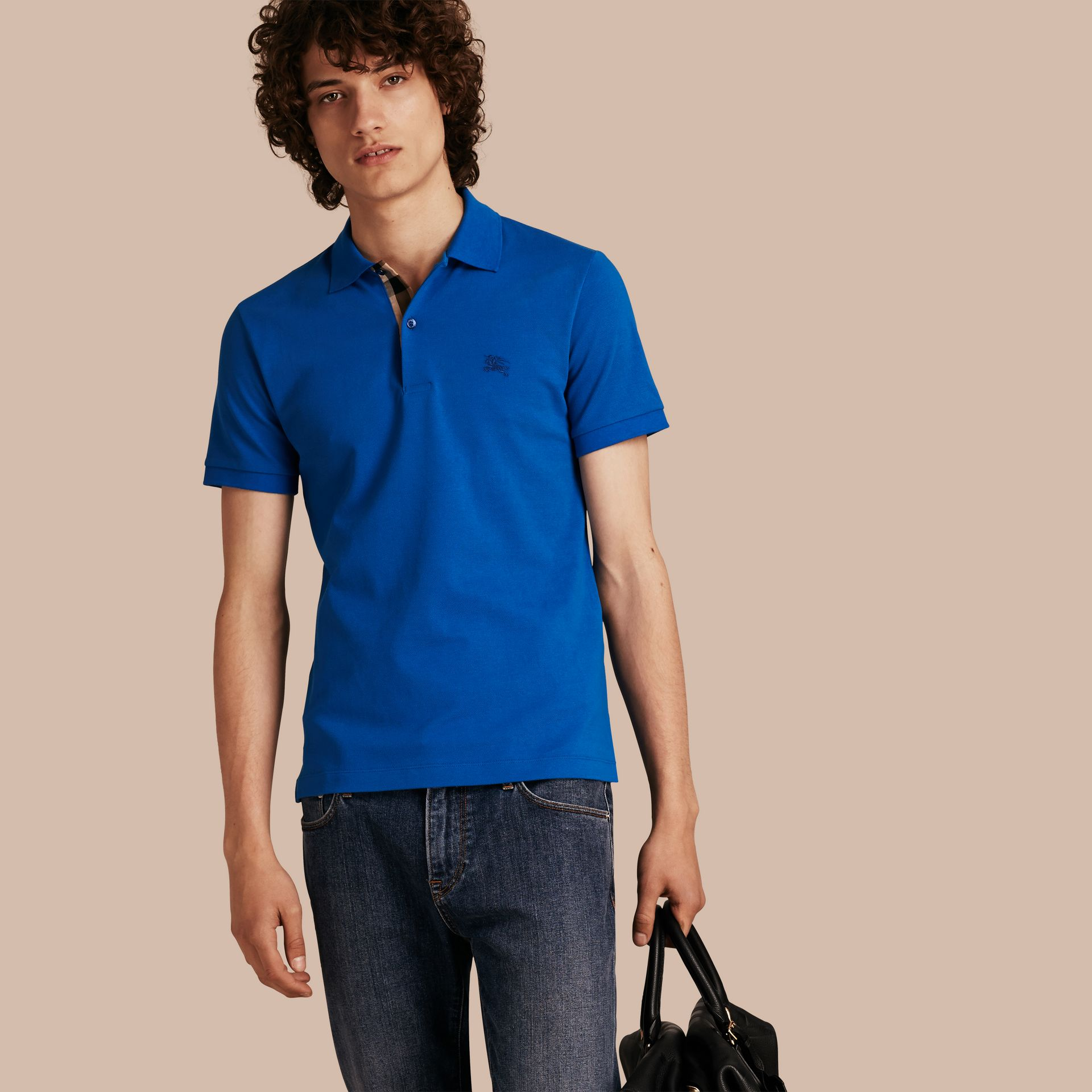 Check Placket Cotton Piqué Polo Shirt in Bright Opal - Men | Burberry - gallery image 1