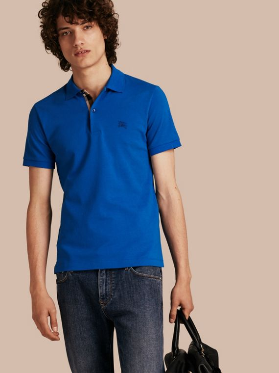 Check Placket Cotton Piqué Polo Shirt Bright Opal