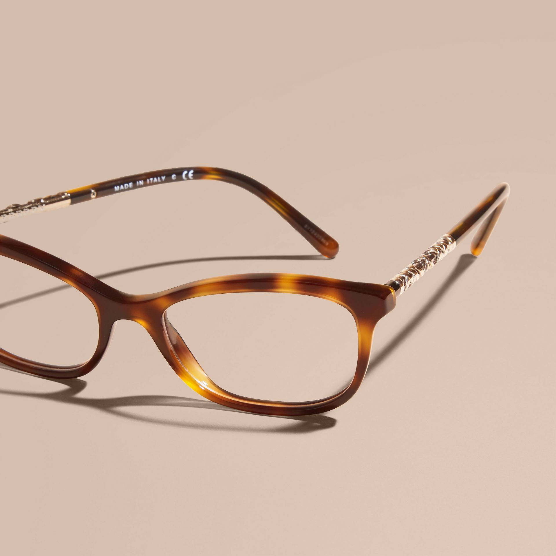 Light russet brown Check Detail Oval Optical Frames Light Russet Brown - gallery image 3