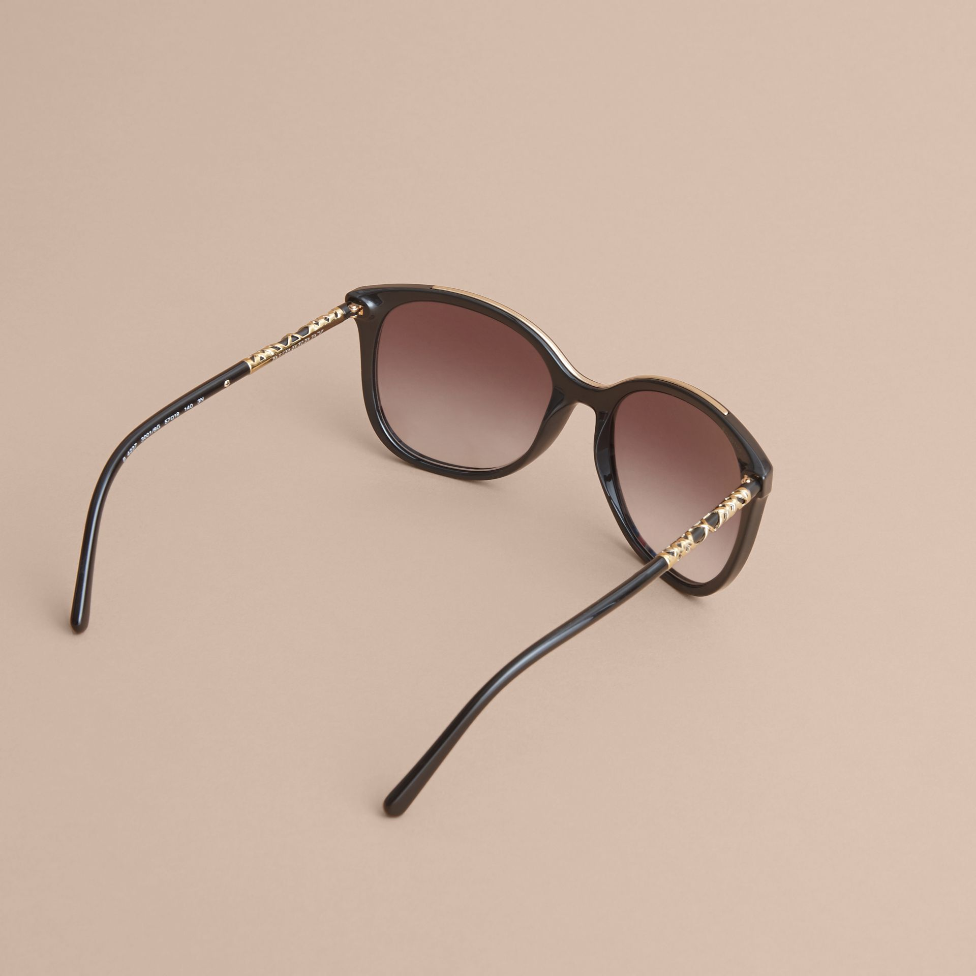 Check Detail Square Frame Sunglasses in Black - Women | Burberry Australia - gallery image 4