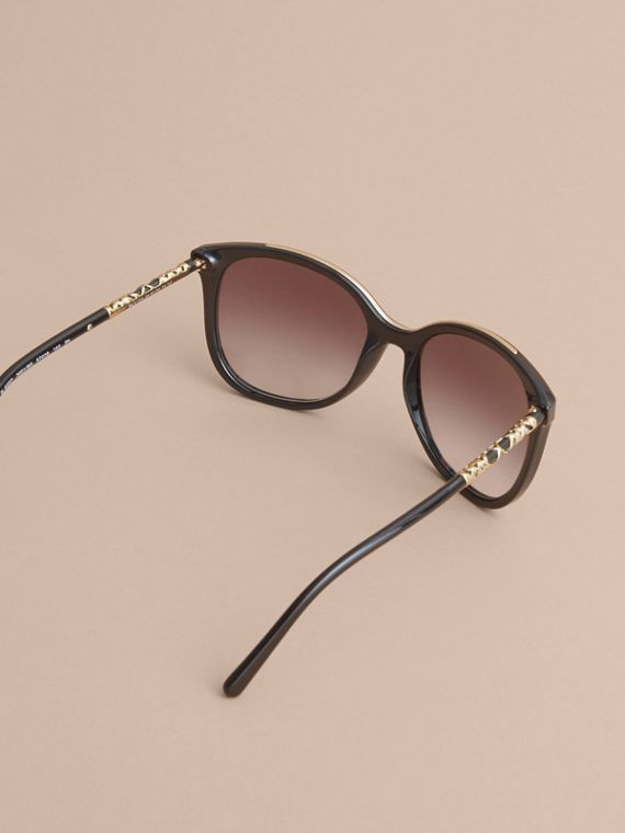 Check Detail Square Frame Sunglasses in Black - Women | Burberry Australia - cell image 3
