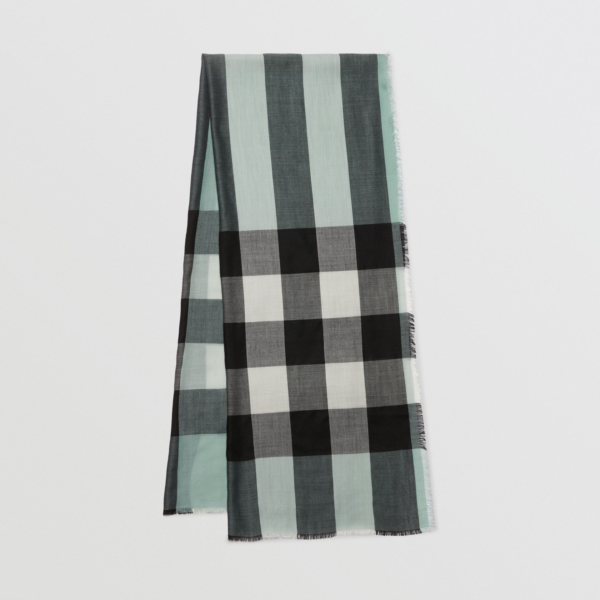 Lightweight Check Cashmere Scarf in Dusty Mint | Burberry United Kingdom - gallery image 0