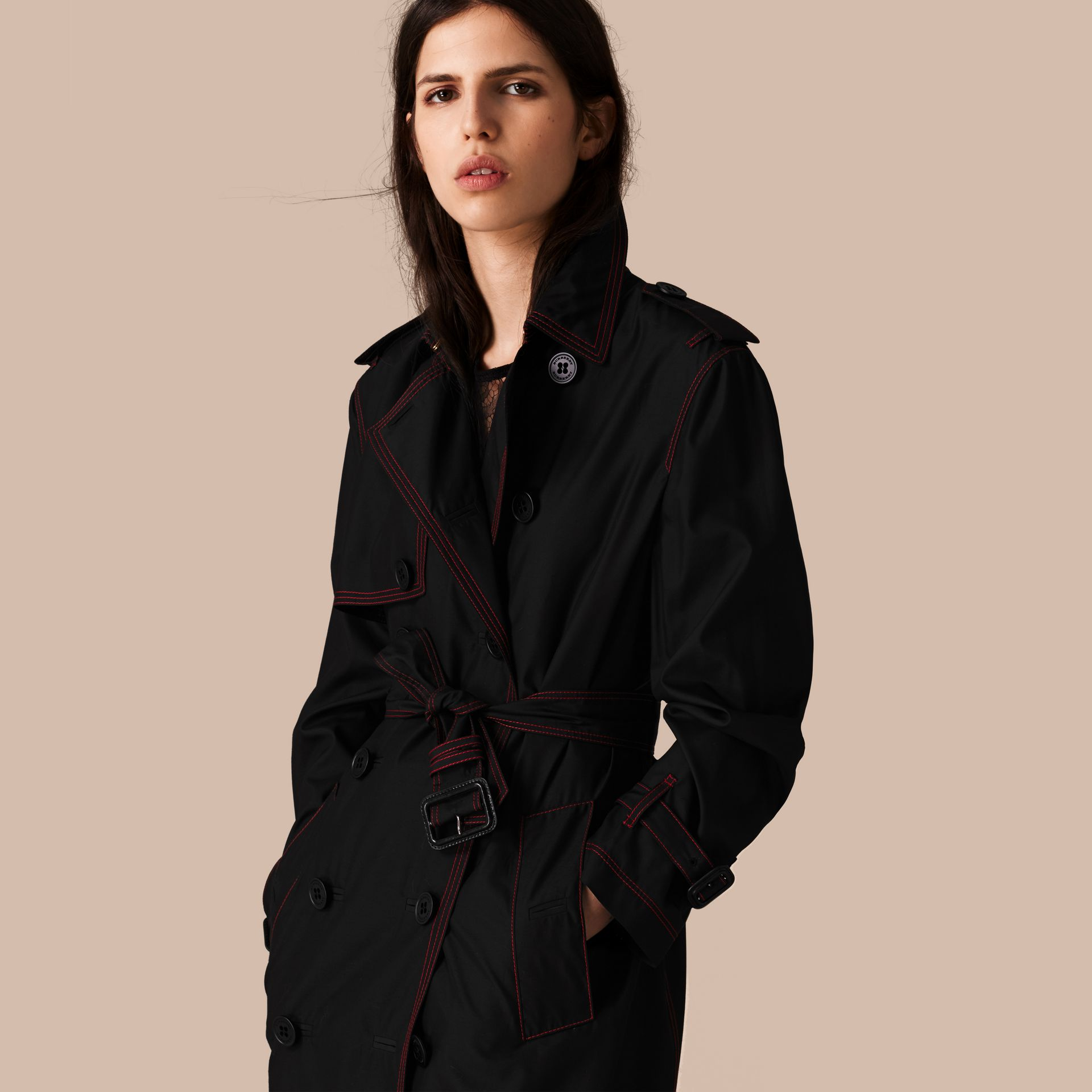 Black Lightweight Silk Wool Trench Coat - gallery image 1
