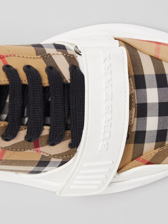 Vintage Check Cotton Sneakers in Antique Yellow - Men | Burberry United Kingdom - cell image 1