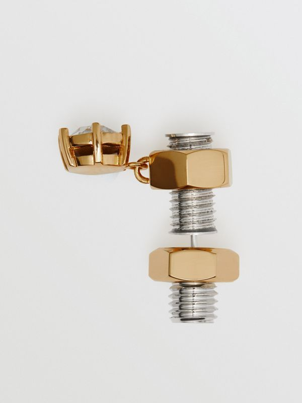 Crystal Charm Gold-Plated Nut and Bolt Earrings in Palladium/light - Women | Burberry - cell image 3