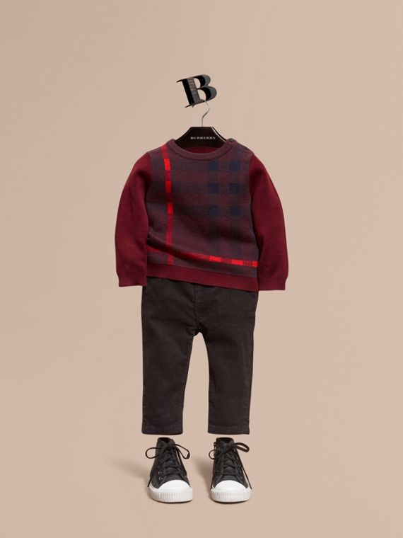 Check Wool Cashmere Blend Sweater Deep Claret