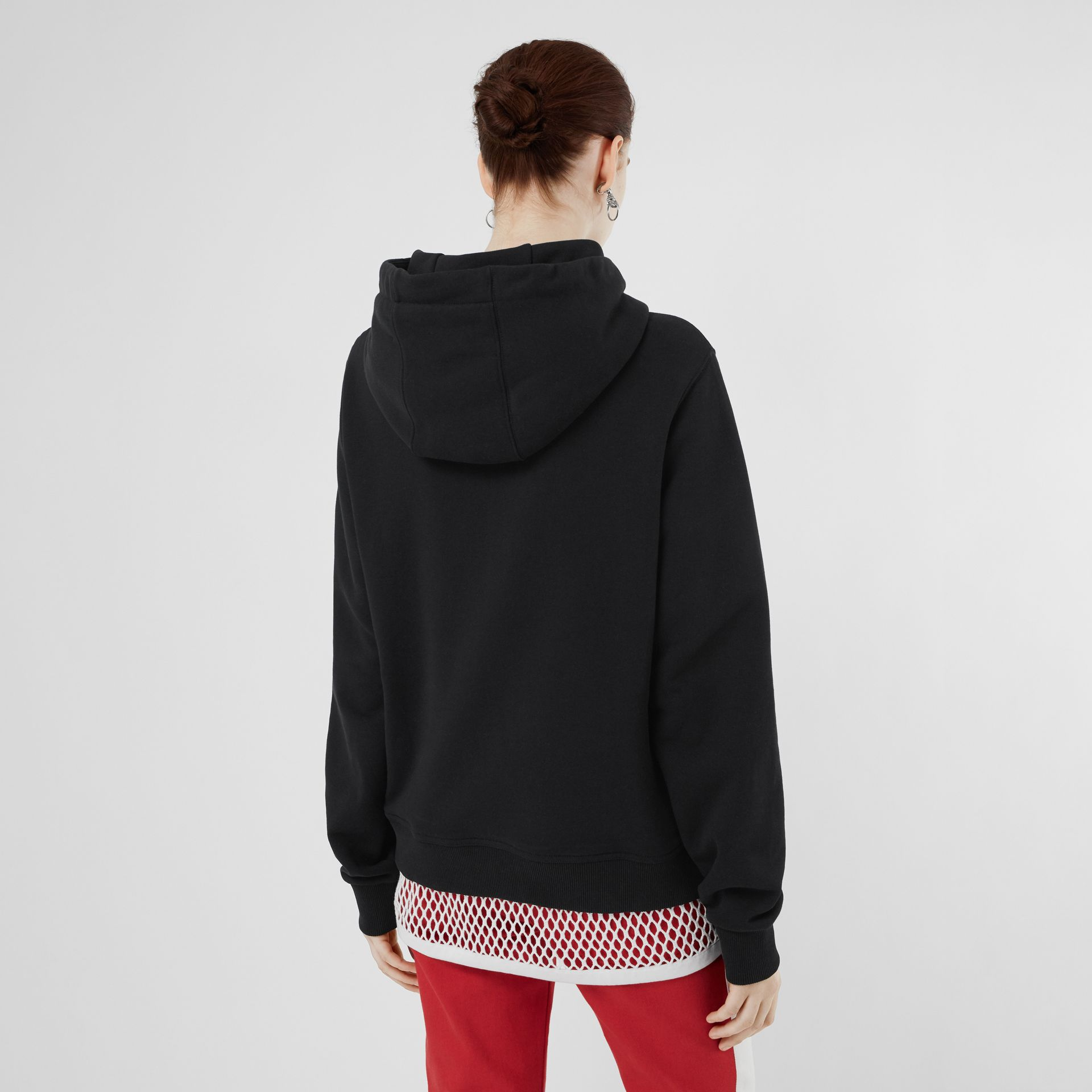 Logo Print Cotton Oversized Hoodie in Black - Women | Burberry - gallery image 2