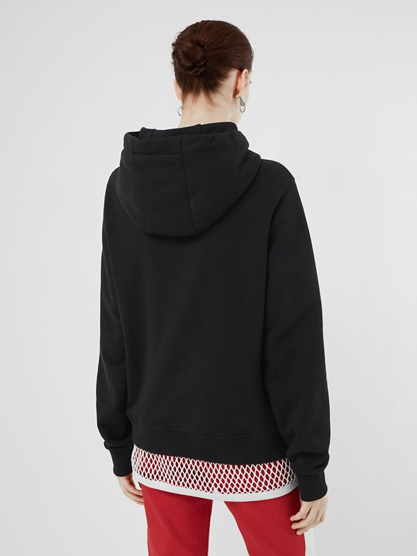 Logo Print Cotton Oversized Hoodie in Black - Women | Burberry - cell image 2