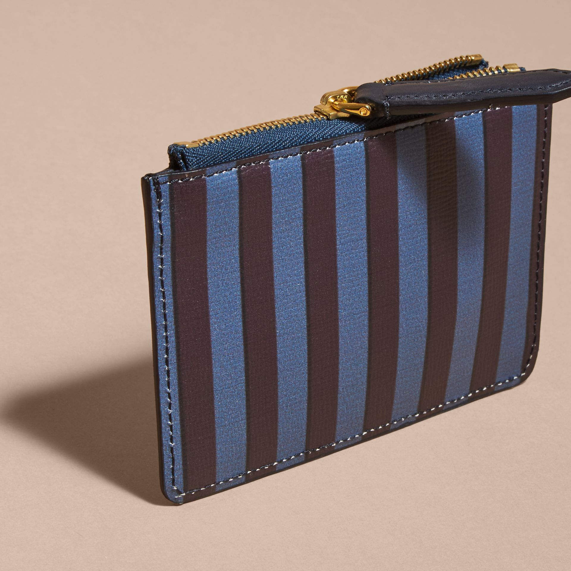 Navy Pyjama Stripe London Leather Zip-top Wallet - gallery image 4