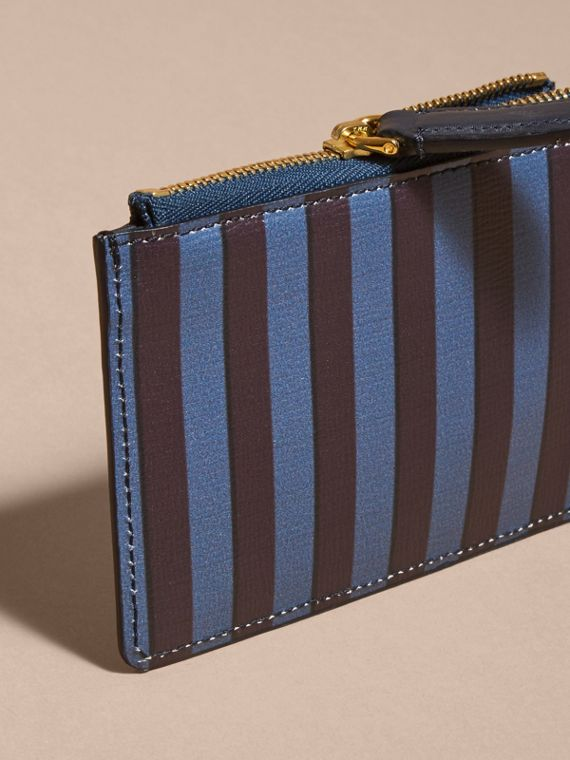 Navy Pyjama Stripe London Leather Zip-top Wallet - cell image 3
