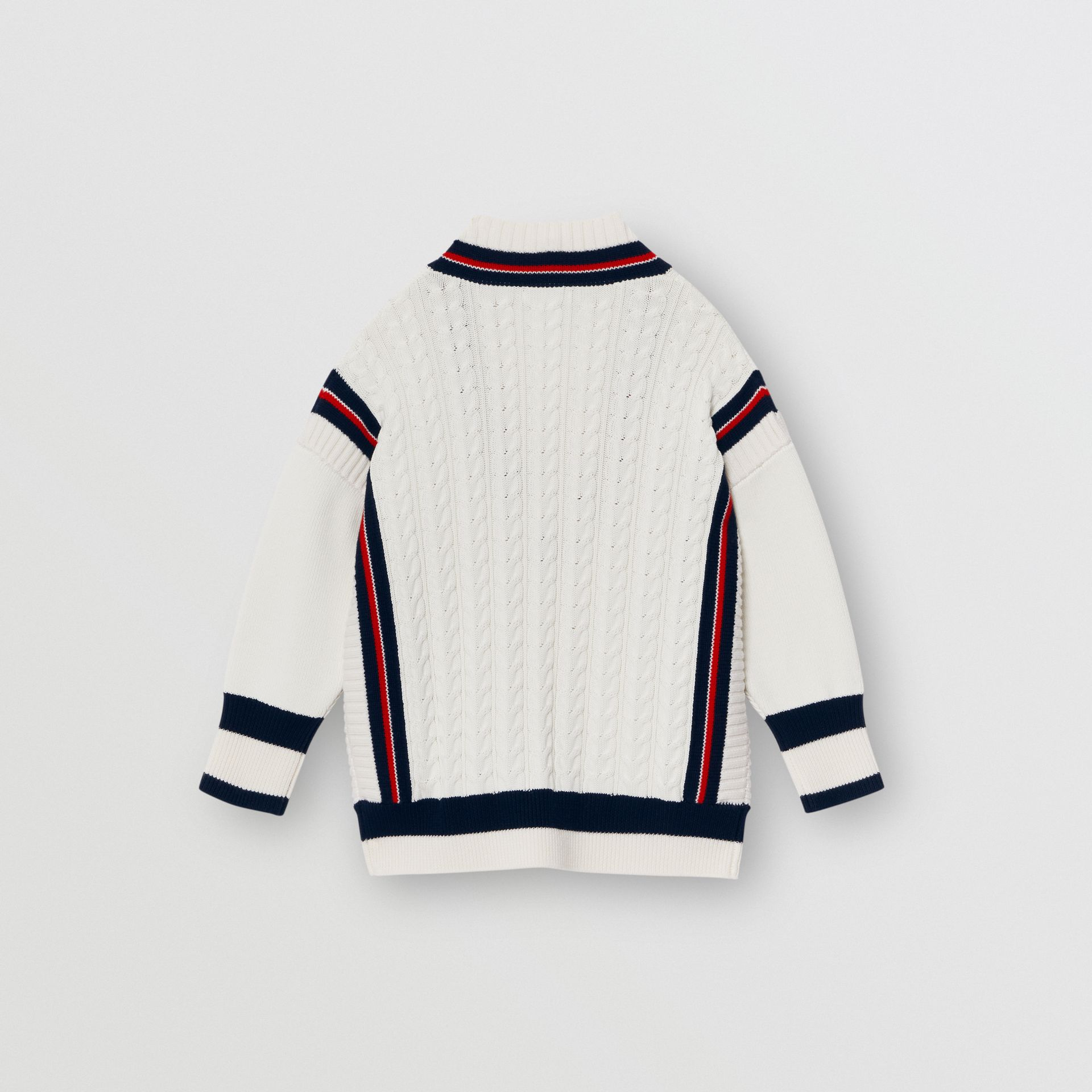 Stripe Detail Cotton and Merino Wool Sweater in White - Children | Burberry - gallery image 3
