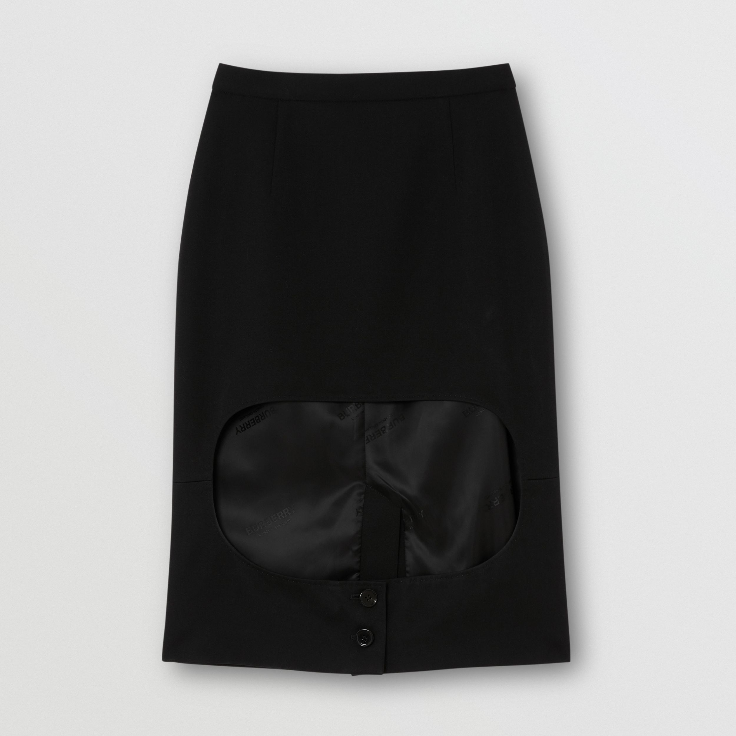Cotton Jersey Step-through Pencil Skirt in Black - Women | Burberry - 3