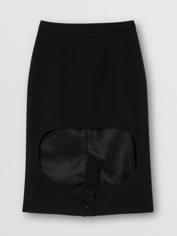 Cotton Jersey Step-through Pencil Skirt in Black