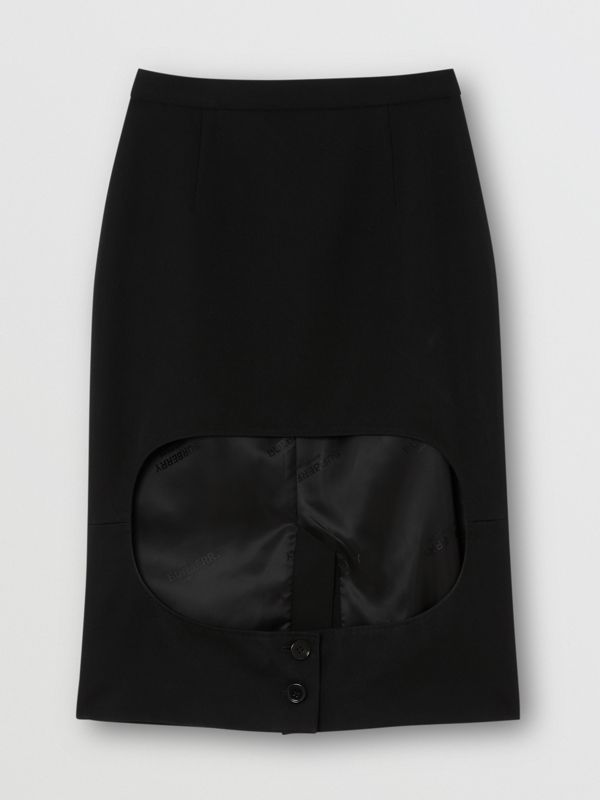 Cotton Jersey Step-through Pencil Skirt in Black - Women | Burberry Australia - cell image 2