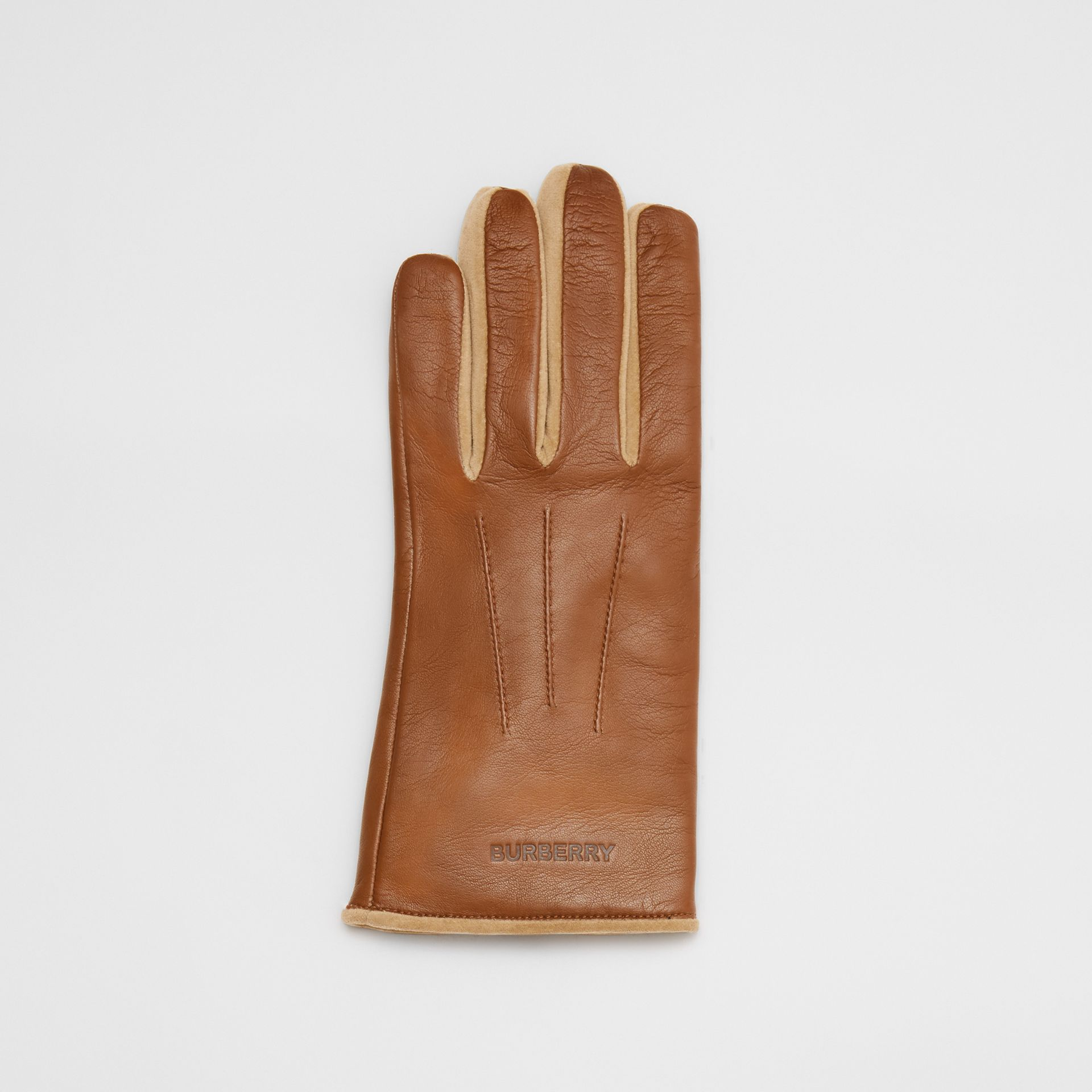 Embossed Logo Cashmere-lined Lambskin Gloves in Brown | Burberry - gallery image 2