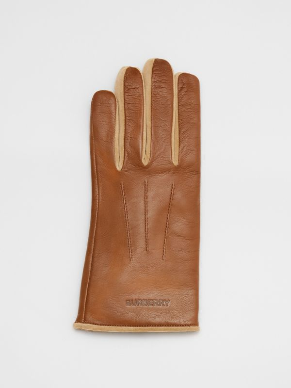 Embossed Logo Cashmere-lined Lambskin Gloves in Brown | Burberry - cell image 2