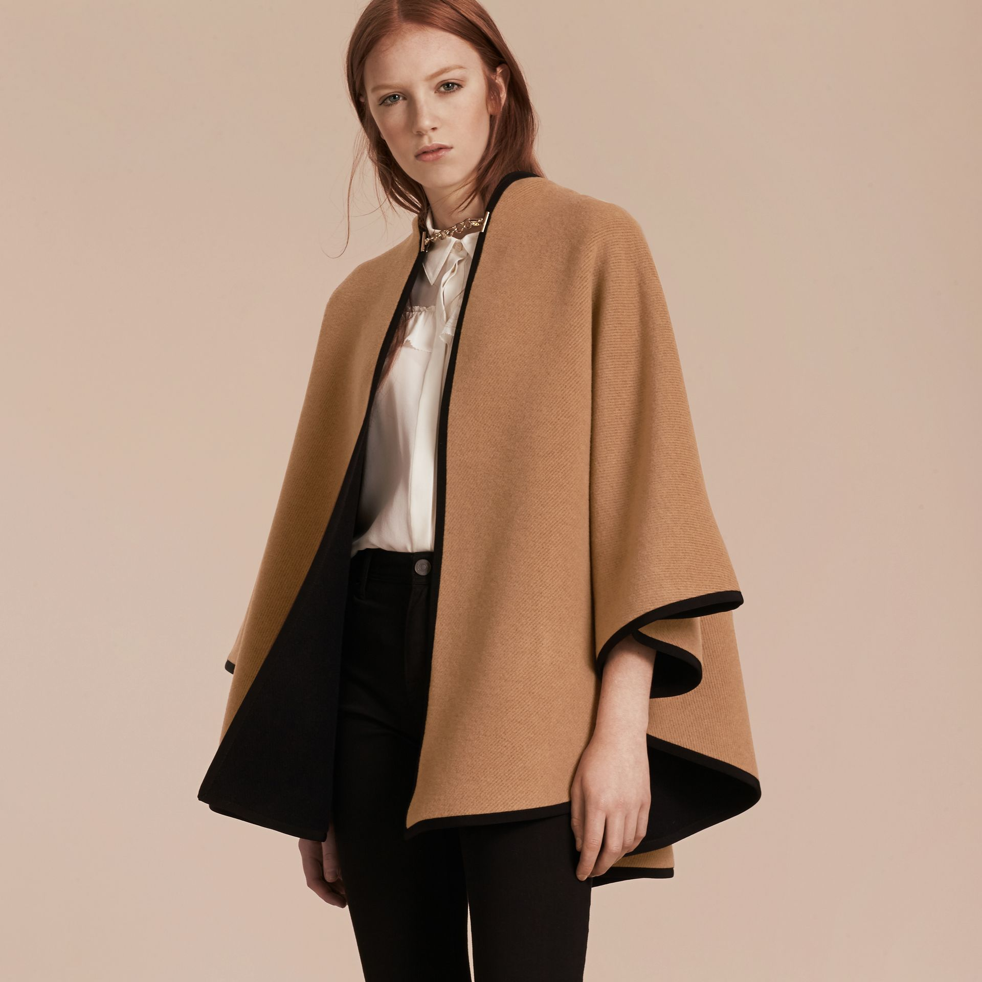 Camel/black Wool Cashmere Military Cape Camel/black - gallery image 7