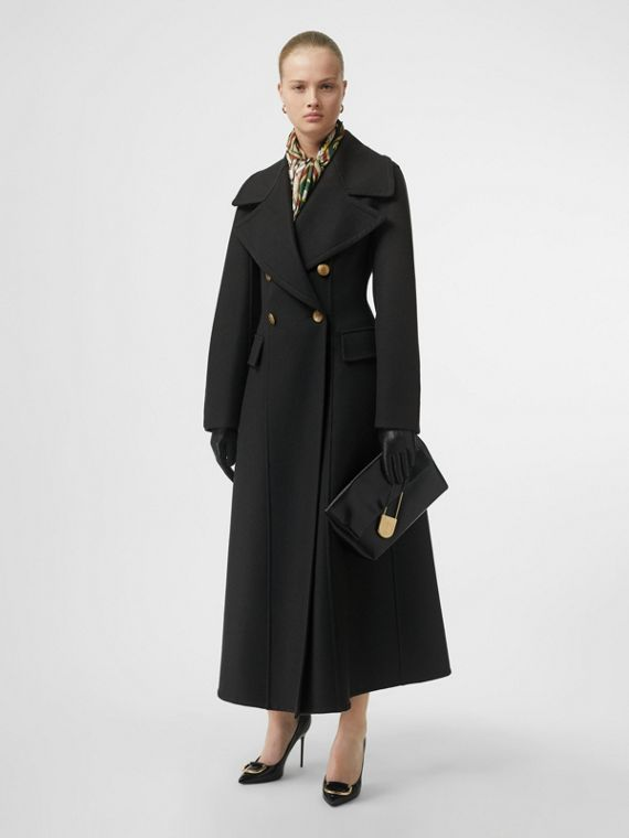 Doeskin Wool Tailored Coat in Dark Forest Green