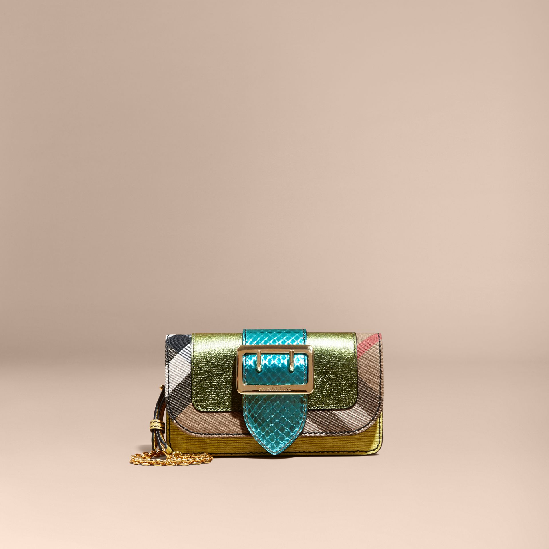 Olive green The Mini Buckle Bag in Leather and House Check - gallery image 8