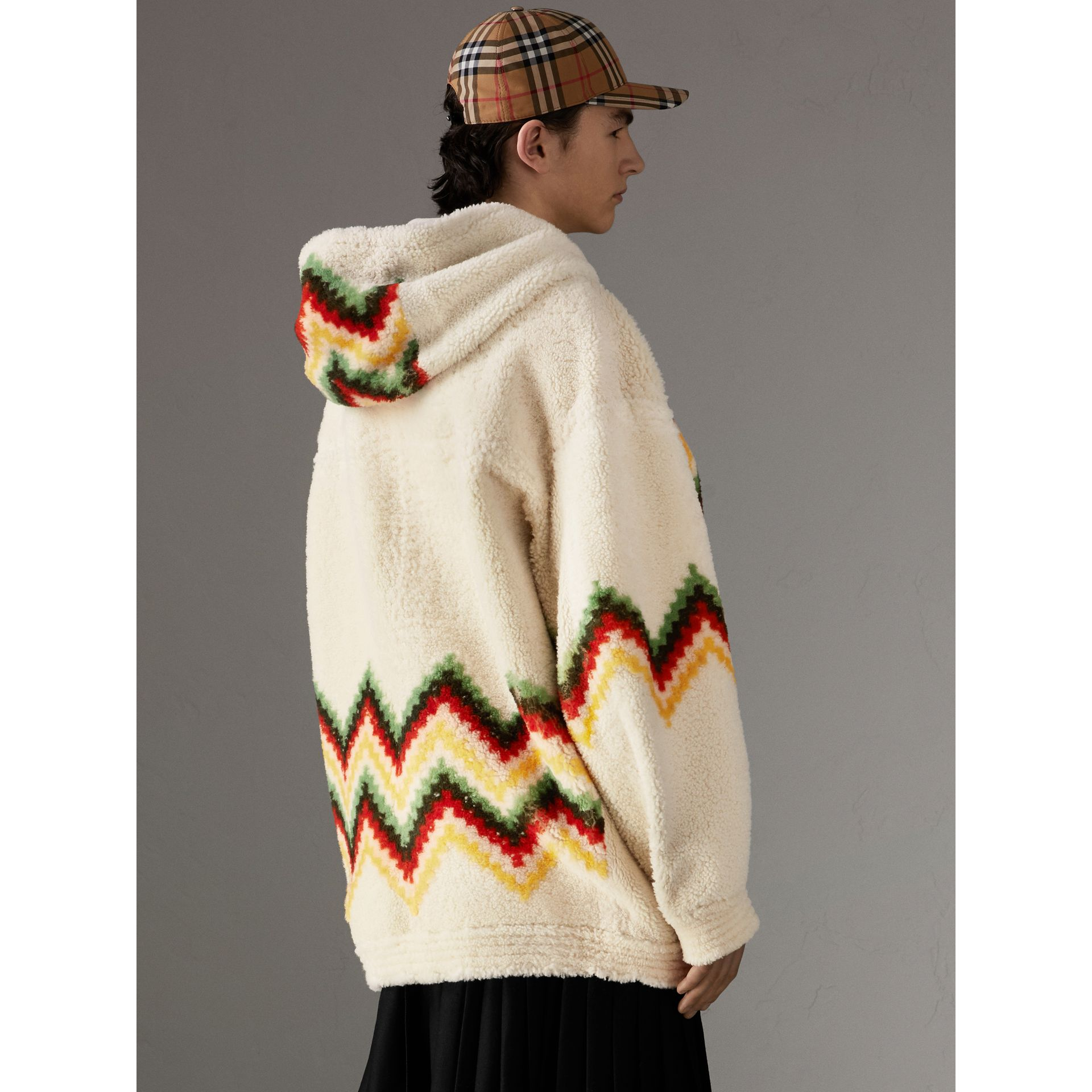 Chevron Intarsia Shearling Hoodie in Off White | Burberry - gallery image 2