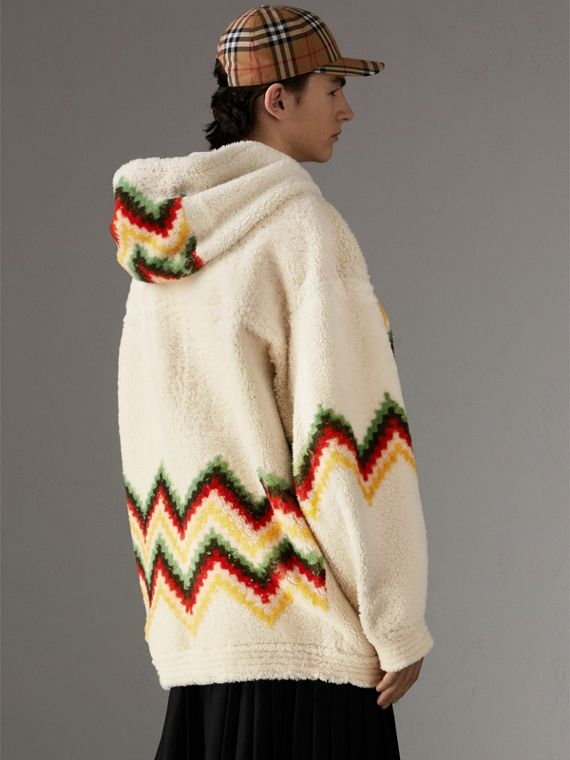 Chevron Intarsia Shearling Hoodie in Off White | Burberry Canada - cell image 2