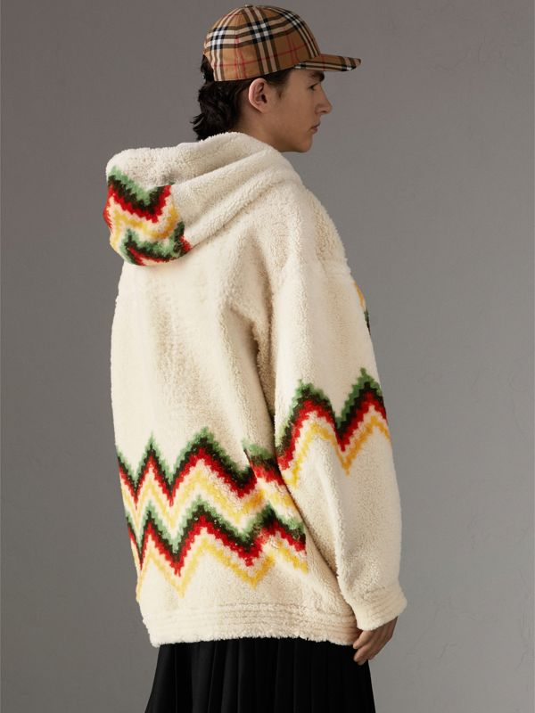 Chevron Intarsia Shearling Hoodie in Off White | Burberry Singapore - cell image 2