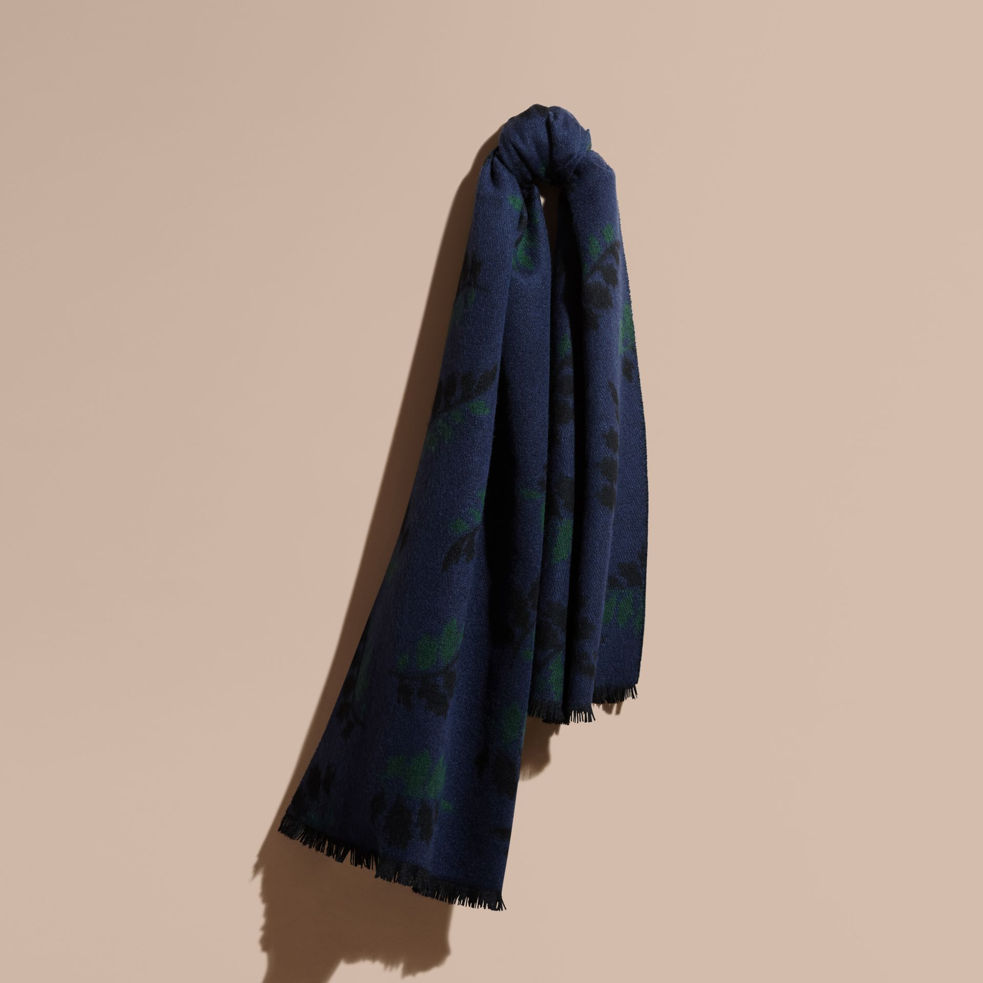 Navy Leaf Jacquard Cashmere Scarf Navy - gallery image 1