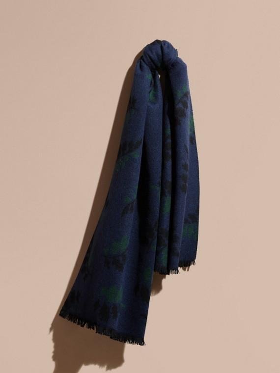 Jacquard-gewebter Schal aus Kaschmir mit Blattmuster Marineblau