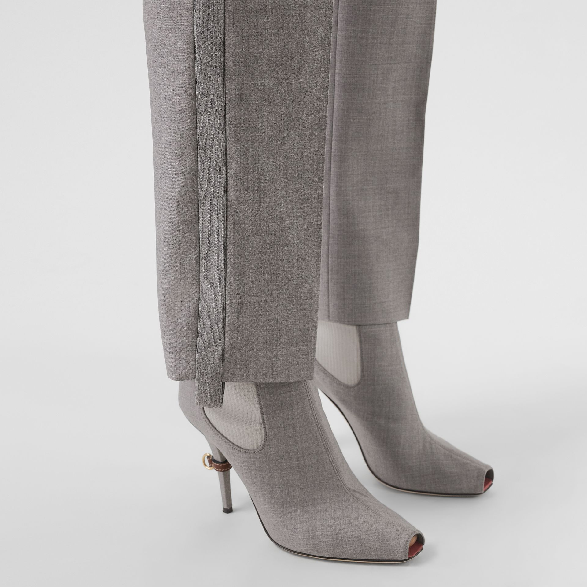 Stripe Detail Wool Trousers in Flint - Women | Burberry - gallery image 1
