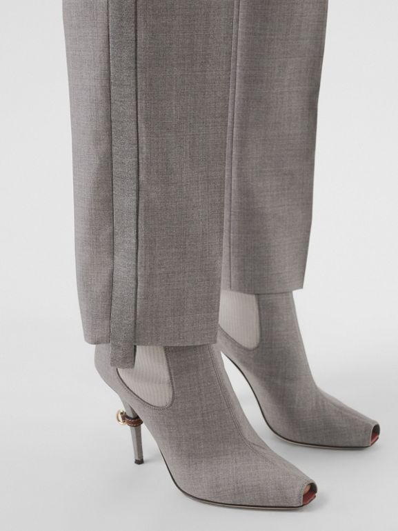 Stripe Detail Wool Trousers in Flint - Women | Burberry United States - cell image 1
