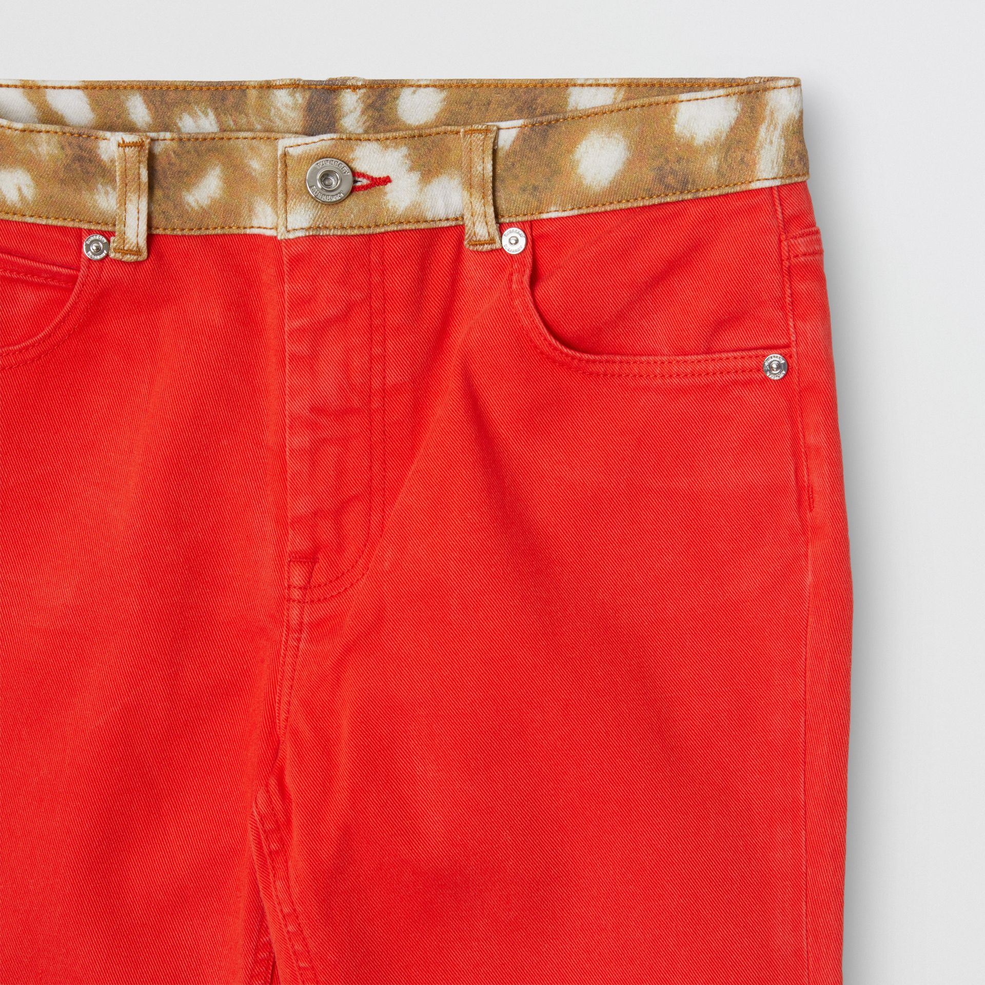 Flared Fit Deer Print Trim Japanese Denim Jeans in Bright Red | Burberry - gallery image 4