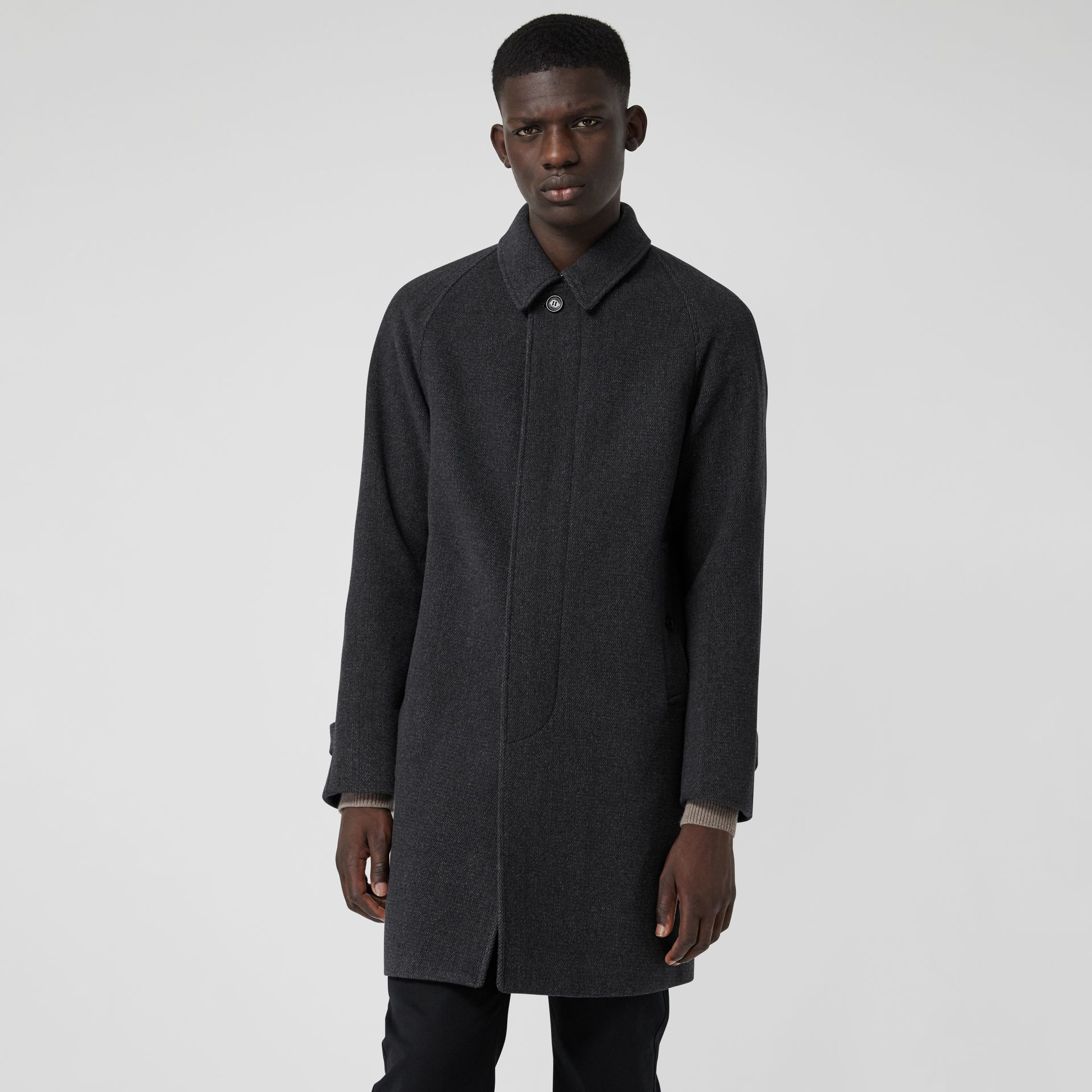 Wool Cashmere Blend Car Coat in Charcoal - Men | Burberry - gallery image 4