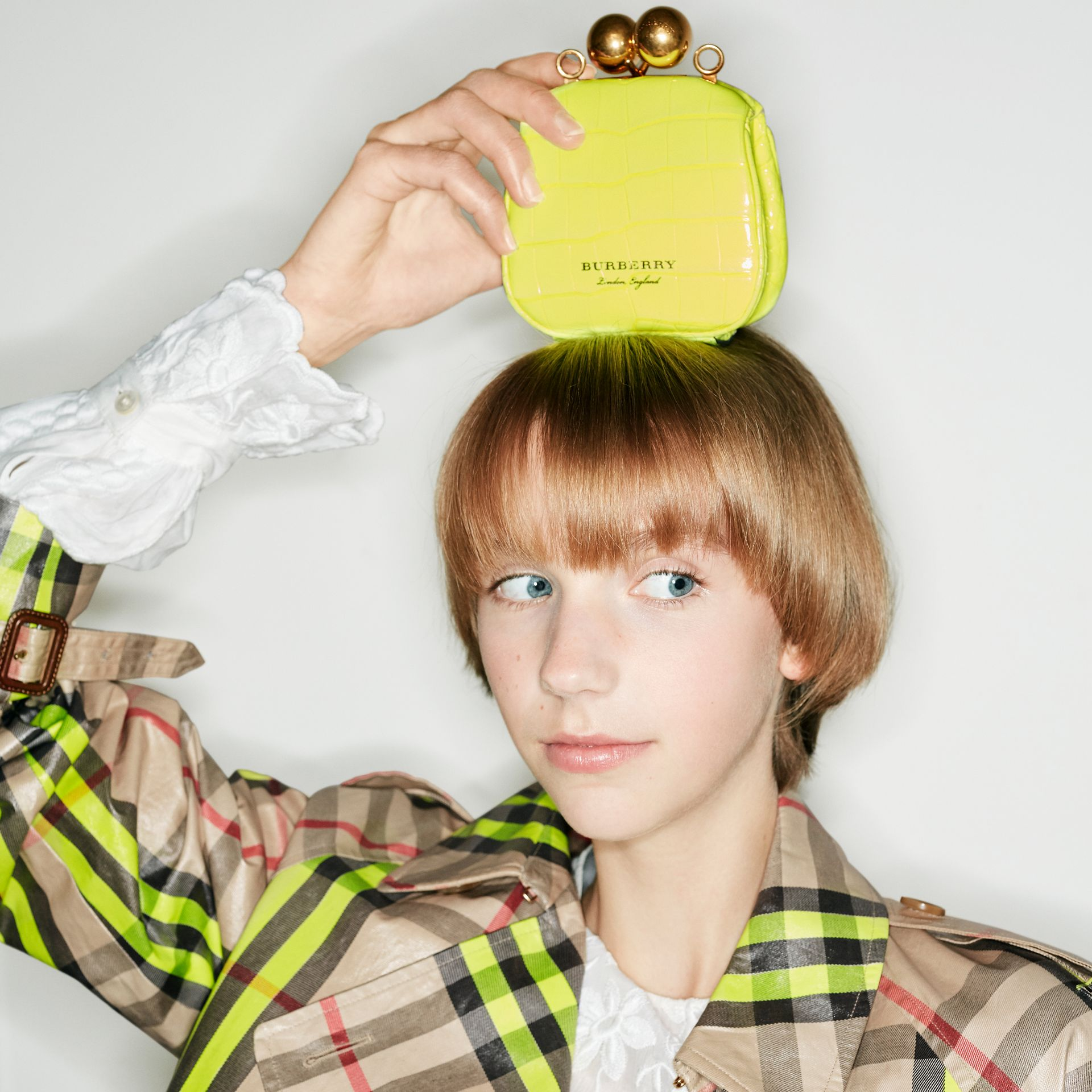 Mini Alligator Frame Bag in Neon Yellow - Women | Burberry - gallery image 6