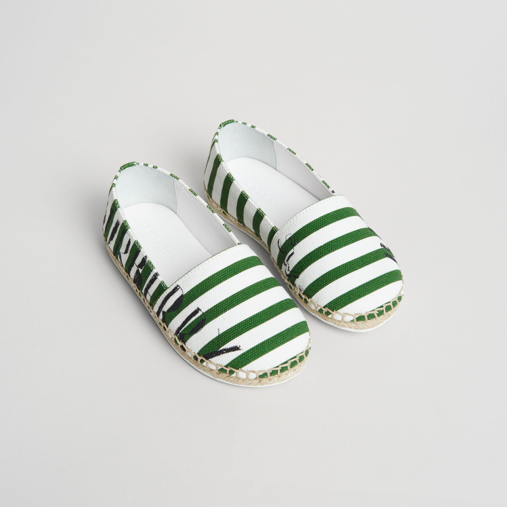 SW1 Print Striped Cotton Espadrilles in Bright Fern Green | Burberry - gallery image 0