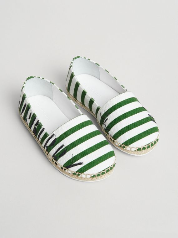 SW1 Print Striped Cotton Espadrilles in Bright Fern Green