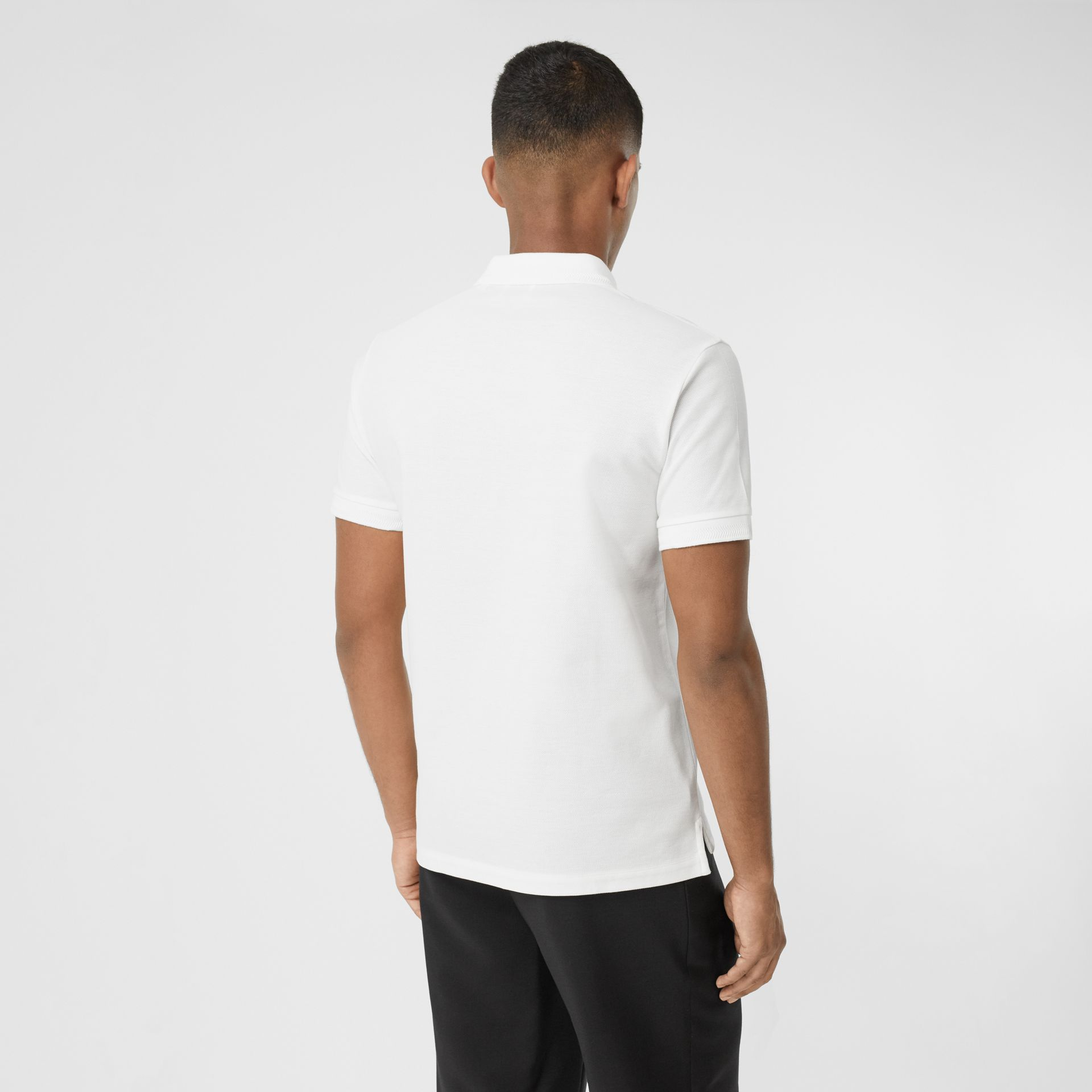 Cotton Piqué Polo Shirt in White - Men | Burberry United Kingdom - gallery image 2