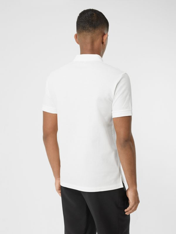 Cotton Piqué Polo Shirt in White - Men | Burberry United Kingdom - cell image 2