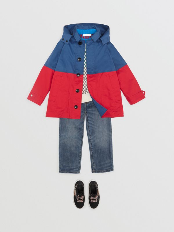 Detachable Hood Colour Block Cotton Car Coat in Dusty Blue - Children | Burberry - cell image 2