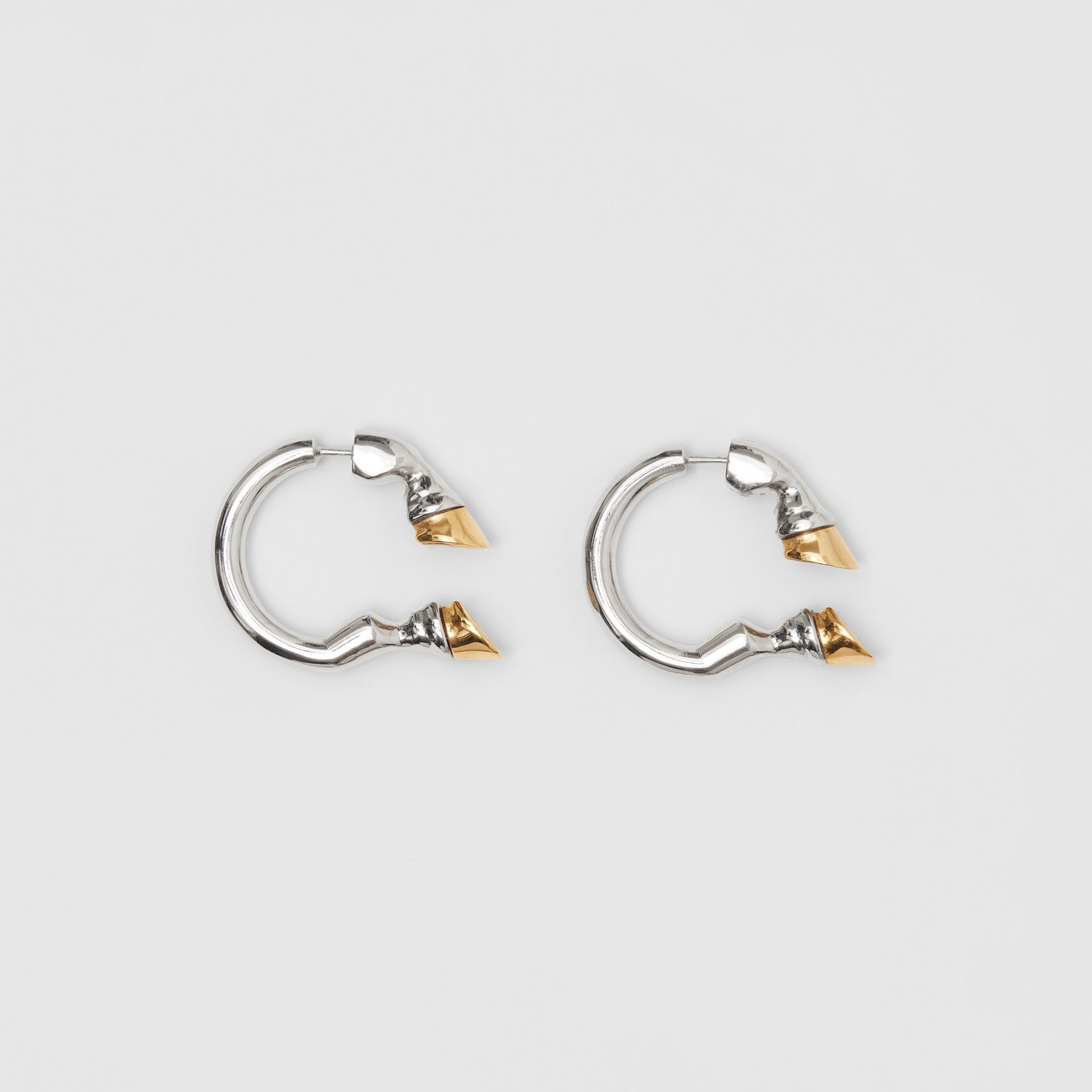 Palladium and Gold-plated Hoof Open-hoop Earrings in Palladio/gold - Women | Burberry Australia - gallery image 0