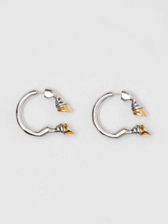 Palladium and Gold-plated Hoof Open-hoop Earrings in Palladio/gold