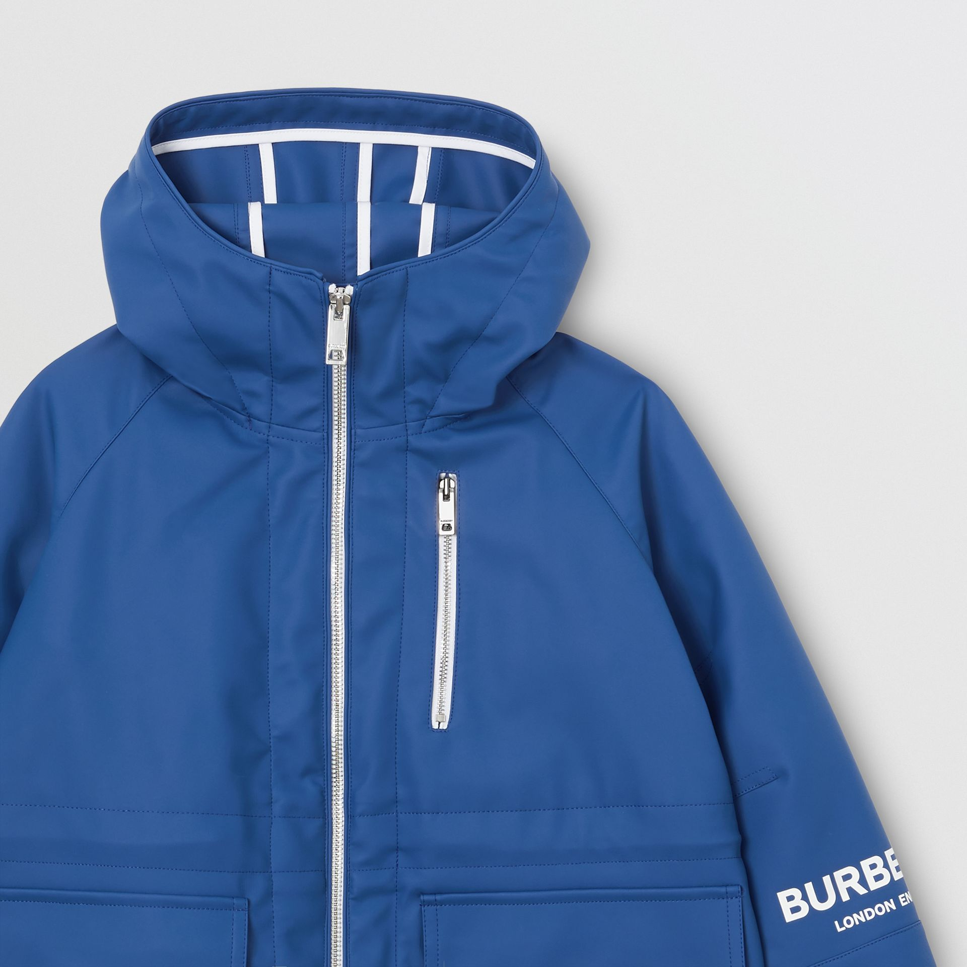 Logo Print Showerproof Hooded Jacket in Imperial Blue | Burberry - gallery image 4