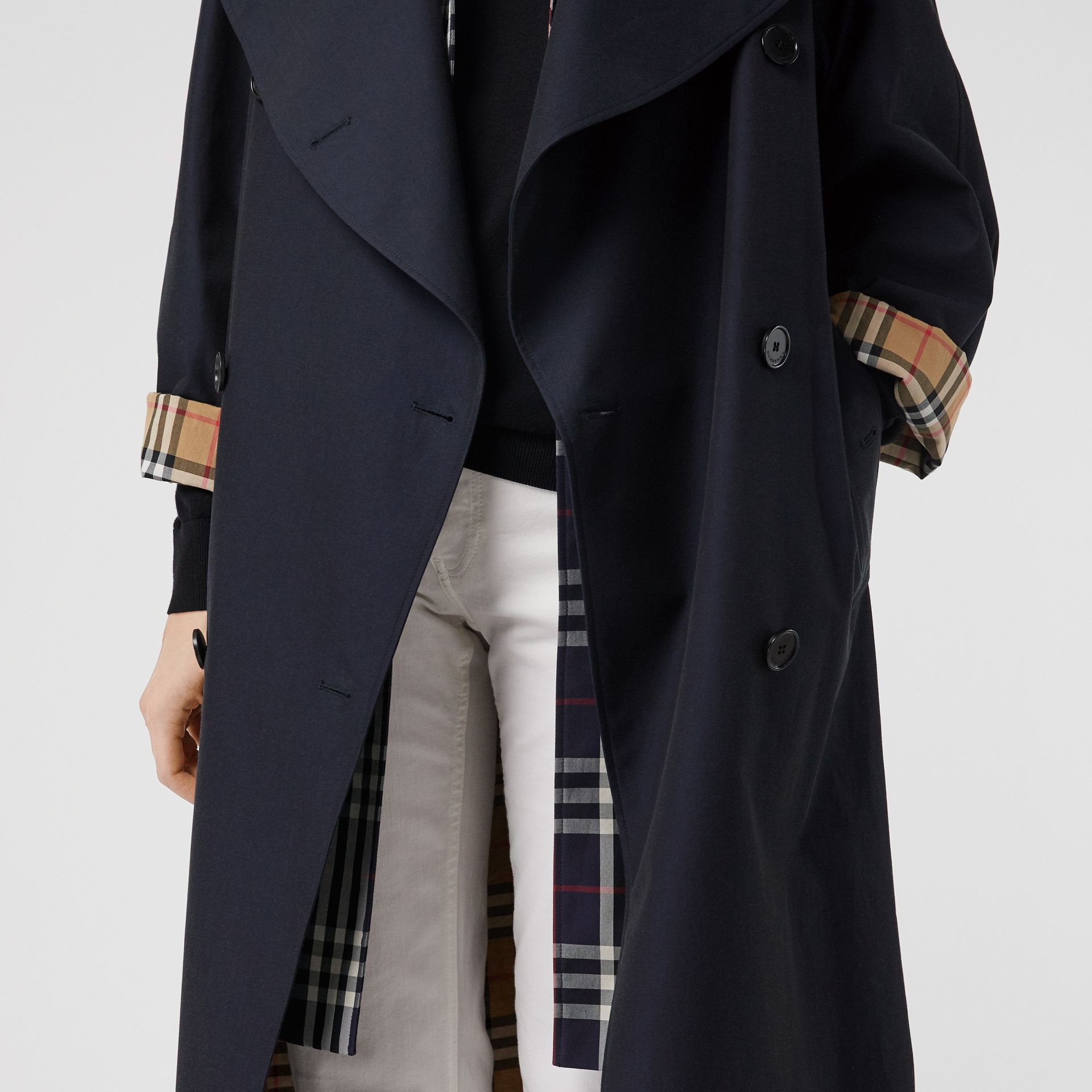 Double-Front Tropical Gabardine Car Coat in Blue Carbon - Women | Burberry Australia - gallery image 1