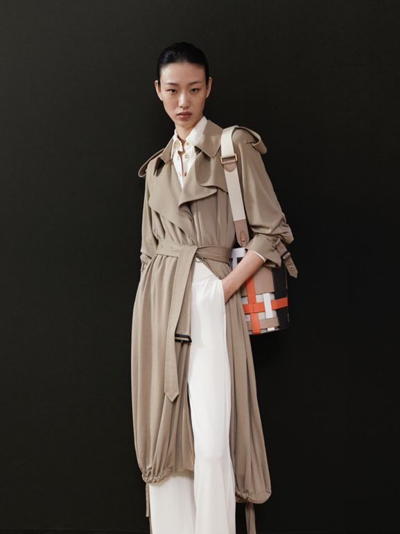 Jersey Wrap Coat in Warm Taupe - Women | Burberry - cell image 1